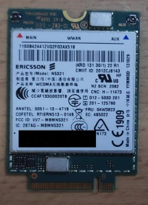Lenovo ericsson N5321 3G WWAN modem. X1 carbon X230s X240S T430S T431S T440 S540 W540. 04W3823