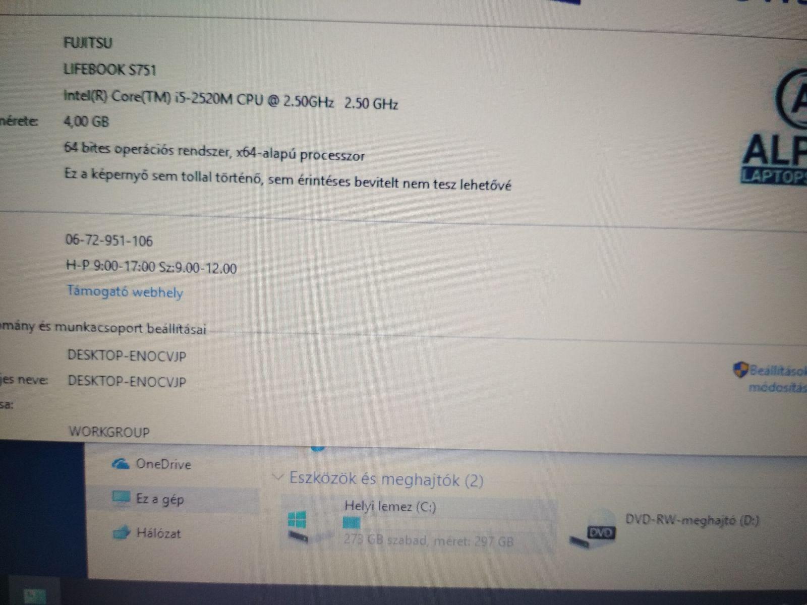 Fujitsu Lifebook S751 - i5 2520M / 4GB / 320GB HDD használt 3 hó gar!