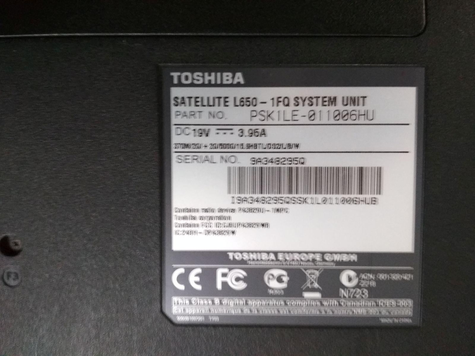 Toshiba Satellite L650-1FQ 15,6 Intel Core i3 / 4GB / 500GB HDD használt 3 hó gar!