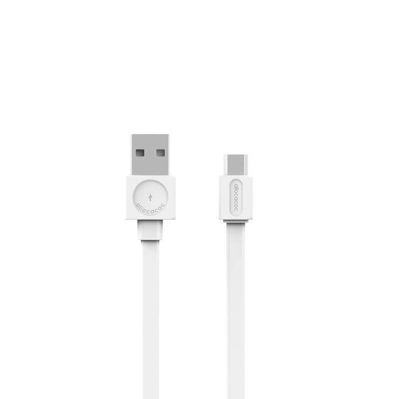 Allocacoc USB ->microUSB Basic lapos szilikon kábel White 1,5m