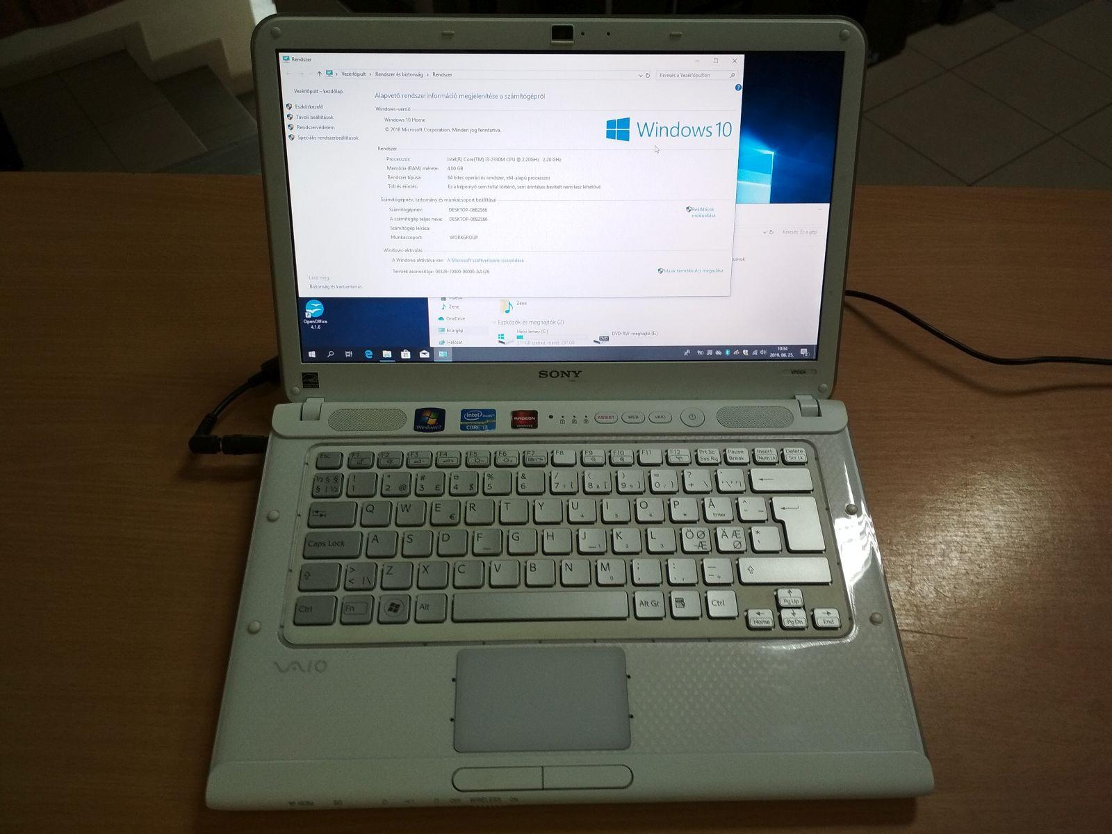 Sony Vaio VPCCA3S1E Intel i3 / 4GB / 320GB HDD használt 3 hó gar!