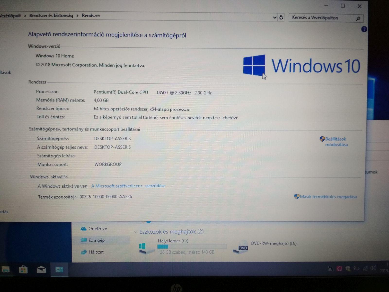 HP G56 15.6 notebook - T4500 / 4GB / 160GB HDD használt 1 hó gar!