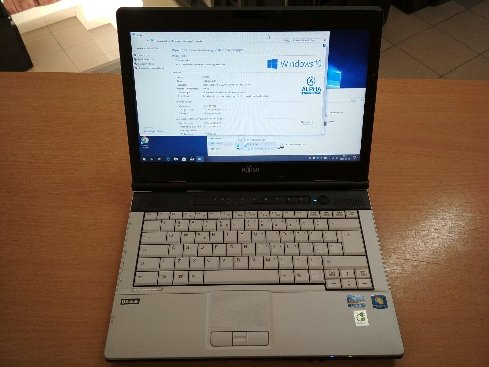 Fujitsu Lifebook S751 - i5 2520M / 4GB / 320GB HDD használt 6 hó gar!