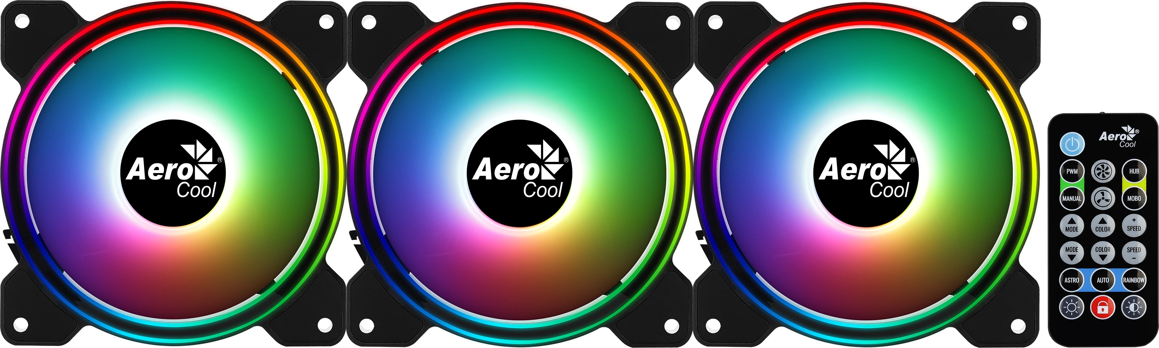 Ventilátor Aerocool Saturn 12F ARGB Pro 12cm RGB LED 3db-os + vezérlő (ACF3-ST10247.01)