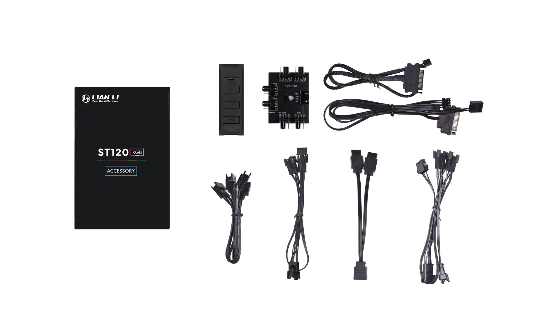 Ventilátor Lian Li ST120 RGB PWM 12cm RGB Fehér 3db-os + Kontroller (ST120-3W)
