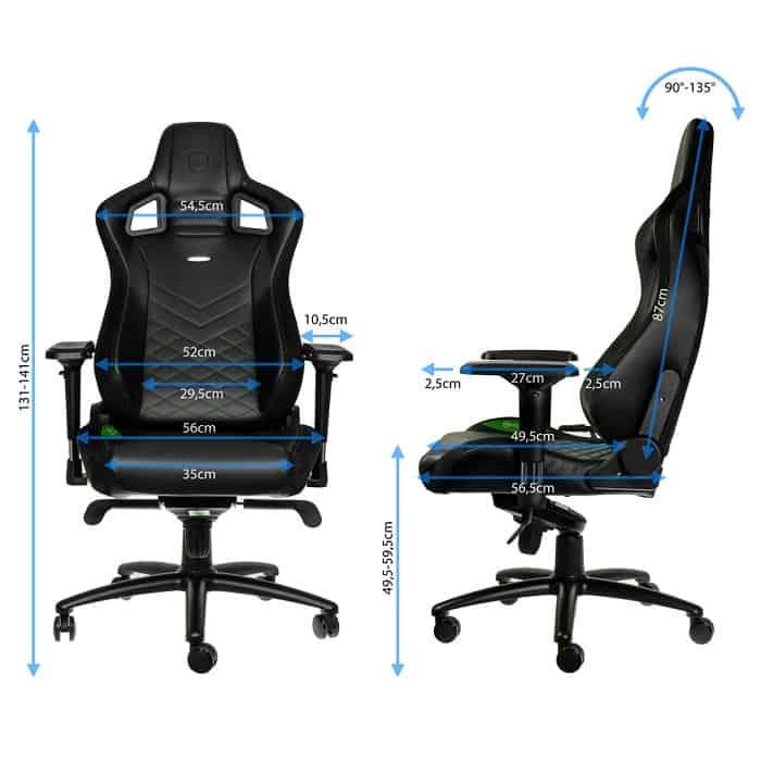 Gamer szék noblechairs EPIC PU Bőr Fekete/Zöld (NBL-PU-GRN-002)