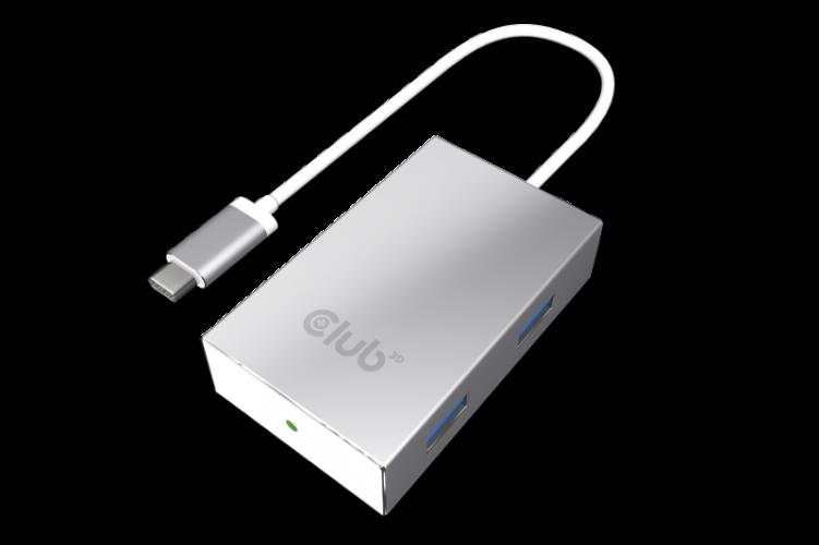 Club3D SenseVision USB3.0 Type C - 4xUSB3.0 A Hub Silver (CSV-1541)