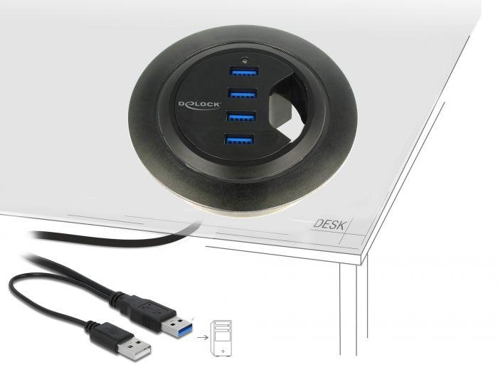 DeLock In-Desk Hub 4 Port USB 3.0 (62868)