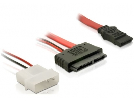 Delock Micro SATA anya + 2 tûs hálózati - SATA átalakító kábel (84384)