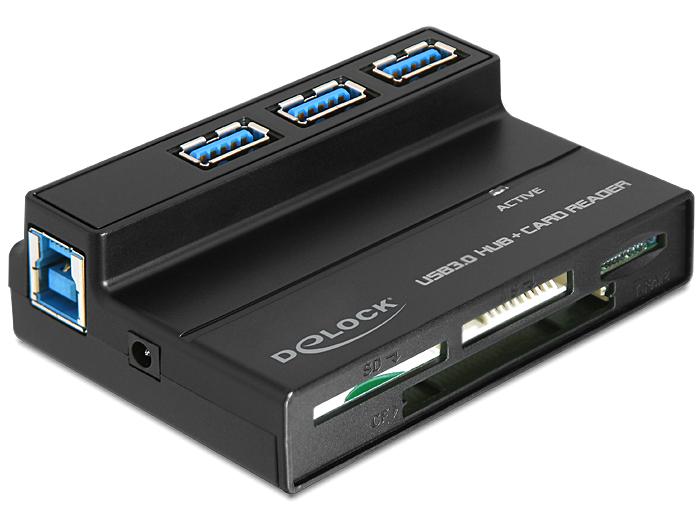 DeLock USB 3.0 Card Reader All in 1 + 3 Port USB 3.0 Hub (91721)