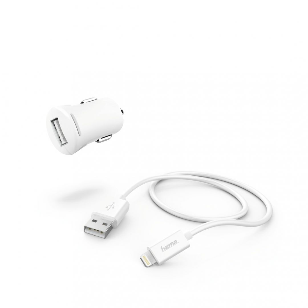 Hama Car Charger 2,4A with Lightning->USB Cable White (183266)
