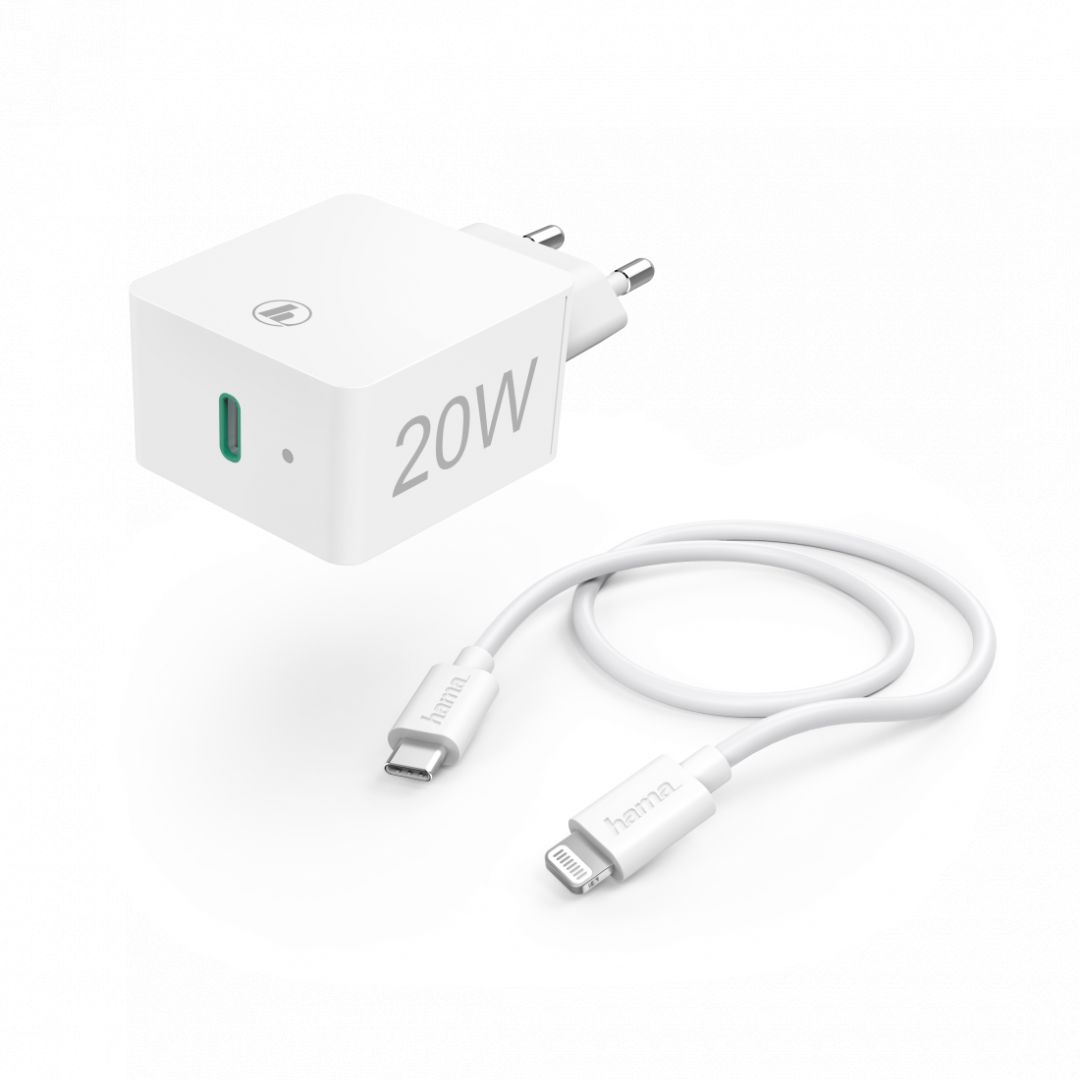 Hama Charger 20W with Lightning->USB Type-C Cable (Apple Quick Charge Kit) White (210563)