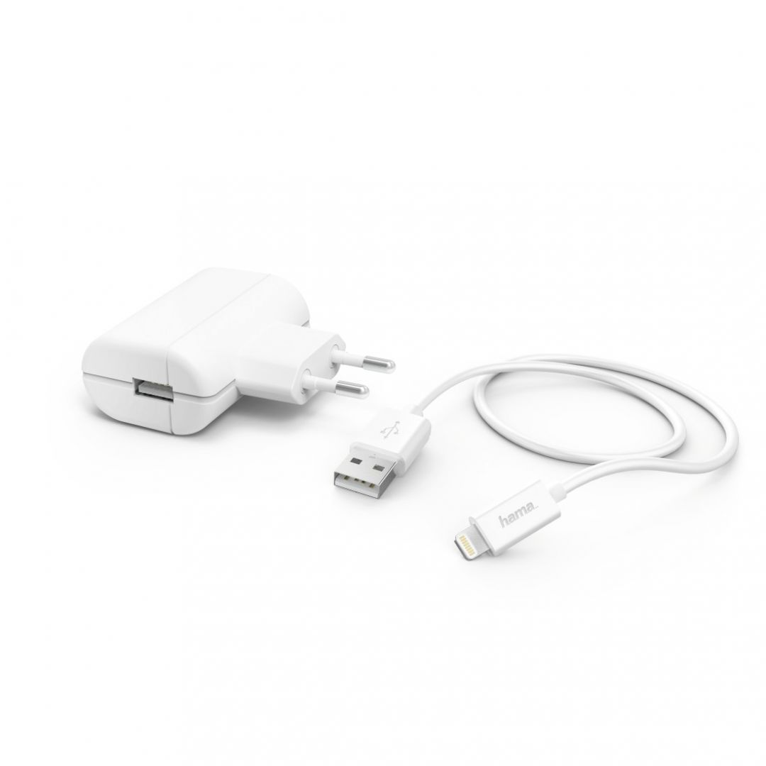 Hama Charger 2,4A with Lightning->USB Cable White (183265)