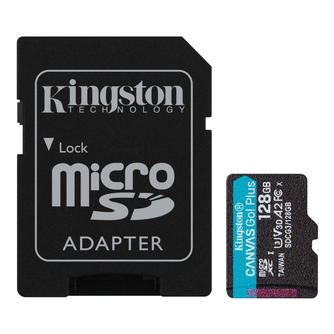 Kingston 128GB microSDXC Canvas Go! Plus 170R A2 U3 V30 Card + adapterrel (SDCG3/128GB)