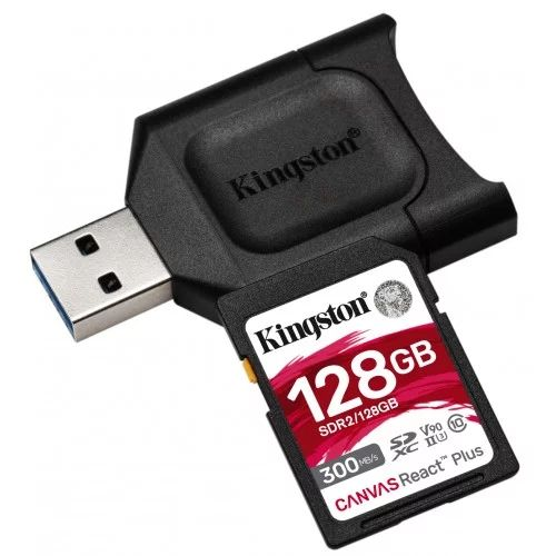Kingston 128GB SDXC SDR2 Class 10 UHS-II U3 Canvas React Plus Kit + MLP SD Reader (MLPR2/128GB)