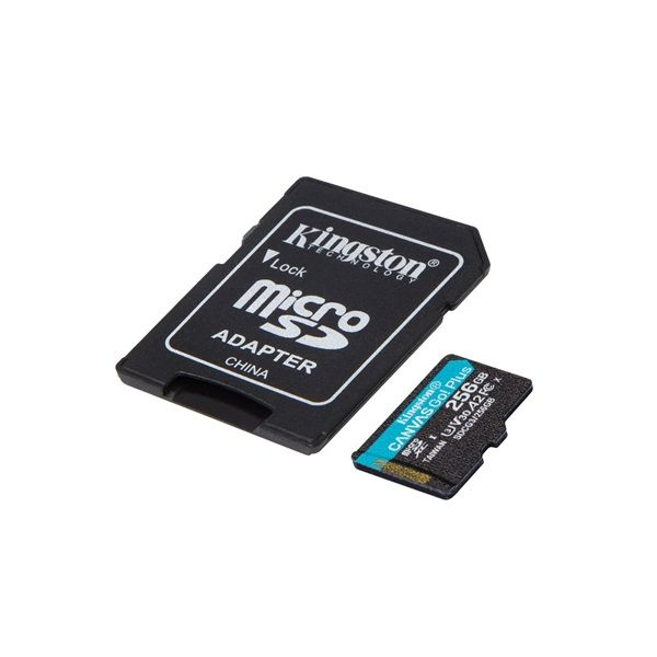 Kingston 256GB microSDXC Canvas Go! Plus 170R A2 U3 V30 Card + adapterrel (SDCG3/256GB)