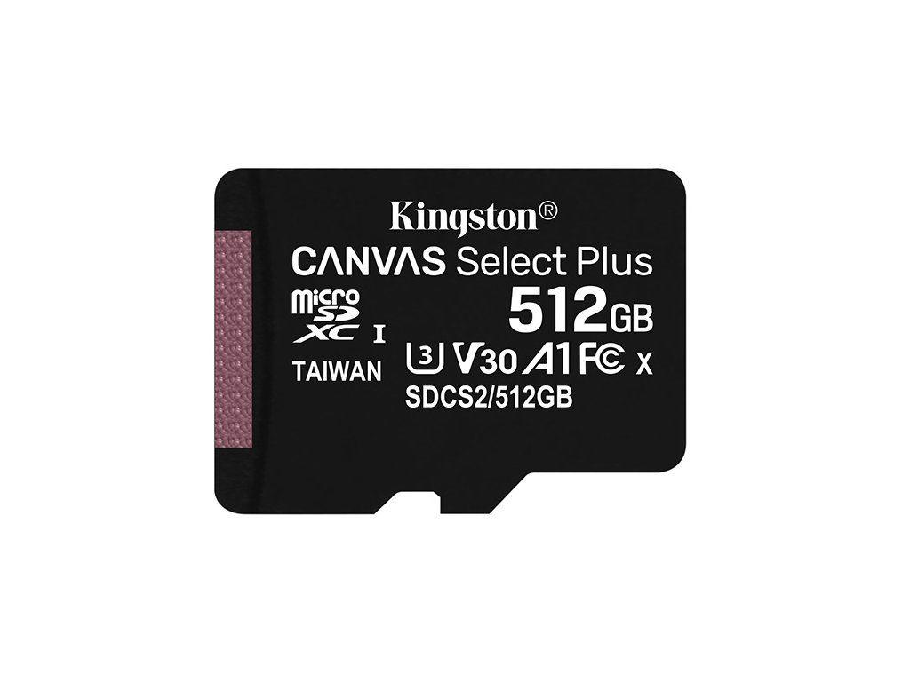 Kingston 512GB microSDXC Canvas Select Plus 100R A1 C10 Card  (SDCS2/512GBSP)