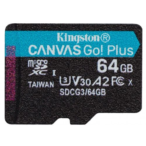 Kingston 64GB microSDXC Canvas Go! Plus 170R A2 U3 V30 Card (SDCG3/64GBSP)