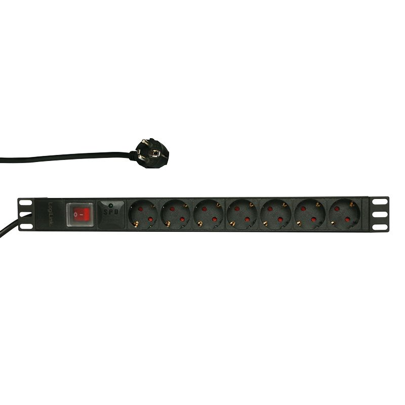 Logilink 19 PDU with 7 german sockets with switch and surge protector (PDU7C01)