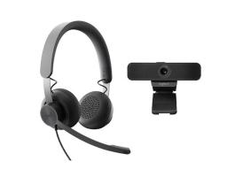 Logitech C925e Webkamera Black + UC-Kompatibilis Zone Wired Headset Black