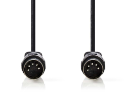 Nedis DIN-es audiokábel DIN 5 tus apa - DIN 5 tus apa 2m Fekete (CAGP20000BK20)