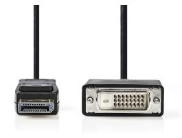 Nedis DisplayPort - DVI kábel DisplayPort-apa - DVI-D 24+1 pólusú apa 1m Fekete (CCGP37200BK10)
