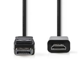 Nedis DisplayPort - HDMI Kábel DisplayPort-apa - HDMI 2m Fekete (CCGB37100BK20)