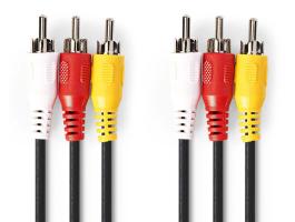 Nedis Kompozit videokábel 3x RCA dugó - 3x RCA dugó 5m kábel (CVGP24300BK50)
