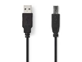Nedis nyomtató kábel 2m USB2.0 A apa - B apa fekete (CCGP60100BK20)