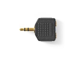 Nedis Sztereó audió adapter 3,5mm-es apa - 2 db 3,5mm-es Aljzat 10 darabos Fekete (CAGP22945BKG)