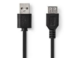 Nedis USB2.0 hosszabbító kábel A apa - USB A Aljzat 3m Fekete (CCGT60010BK30)