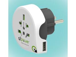 Q2 Power Q2WE-USB Világ - Európa USB utazó adapter