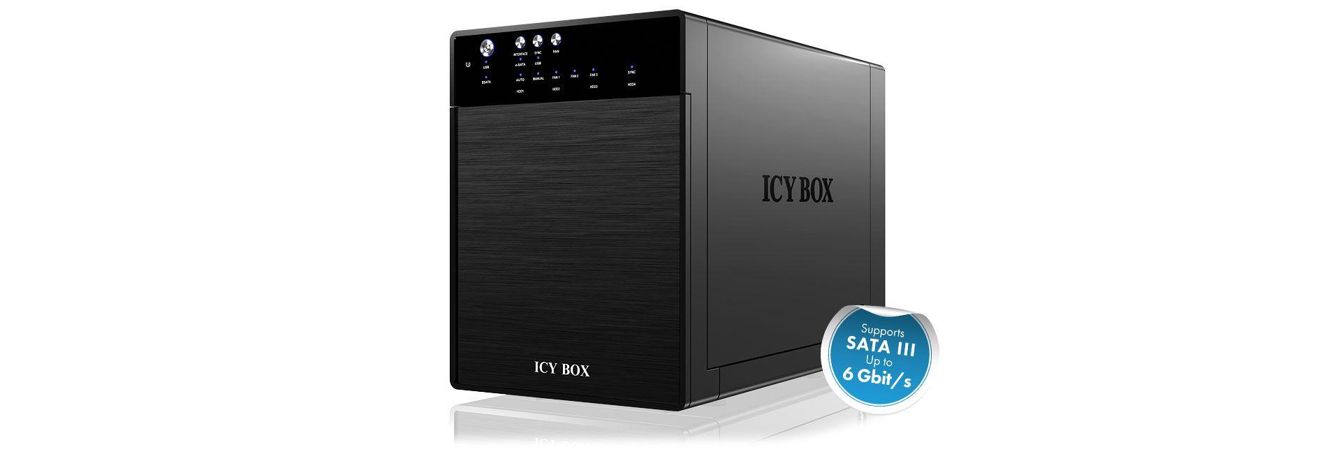 Raidsonic IcyBox IB-3640SU3 External 4x JBOD enclosure with eSATA and USB 3.0 for 3.5 SATA hard drives (IB-3640SU3)