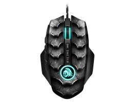 Sharkoon Drakonia II black egér gamer (PixArt 3360 max.15.000DPI súlyozható memória pikkely mintás 180cm kábel)