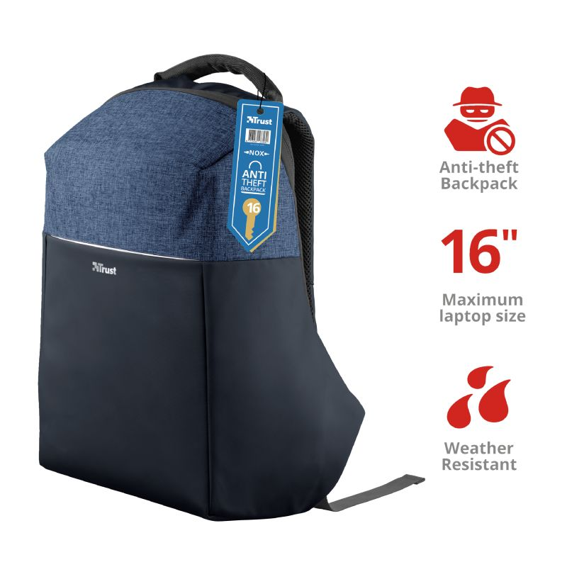 Trust Nox Anti-theft Backpack for 15,6 laptops Blue (23307)