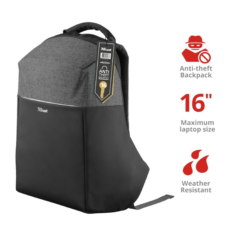 Trust Nox Anti-theft Backpack for 15,6 laptops Black (23083)