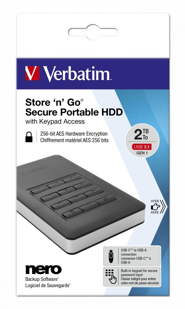 Verbatim 2TB 2,5 Store 'n' Go Secure Portable HDD with Keypad Access (53403)